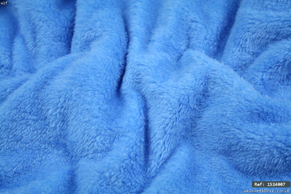Soft faux fur simulated sheep fabric - Med Blue [1524007]
