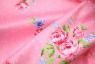 Pink Roses & Tiny Polka Dots 100% Cotton Fabric (per meter)