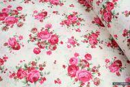Vintage Pink Rose Flowers on Pink 100% Cotton Fabric (per meter)