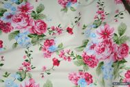 Pink & Blue Flowers 100% Cotton Fabric (per meter)