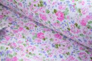 Small Pink & Blue Flowers 100% Cotton Fabric | Low Price (per meter)