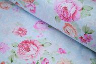 Pink & Peach Roses 100% Cotton Fabric (per meter)