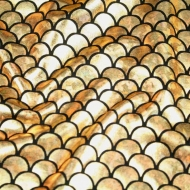 Gold Mermaid Scales Spandex Fishtail Stretchy Fabric (per meter)