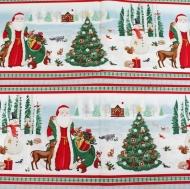 Santa Christmas Trees Scene 100% Cotton Fabric Designer Fat Quarter
