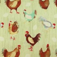 Farmyard Chickens 100% Cotton Fabric Designer Fat Quarter