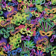 Masquerade Masks Mystery 100% Cotton Fabric Designer Fat Quarter