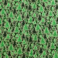 Fabricland Christmas Trees Green 100% Cotton Fabric Fat Quarter