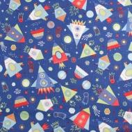 Moda Brand Space Rockets Cotton Quilting Craft Fabric Fat Quarter