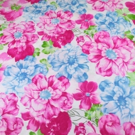 Blue & Pink Floral Top Quality Cotton Quilting Craft Fabric per meter