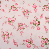Pink Roses on Baby Pink Top Quality Cotton Quilting Craft Fabric per meter