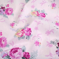 Hot Pink Roses on Baby Pink Top Quality Cotton Quilting Craft Fabric per meter