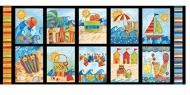 BlankQuilting~ Shore Thing Nautical Beach Blocks 100% Cotton Craft Quilting Panel Fabric