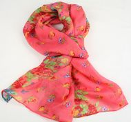 Warm, soft women's floral print scarf - ROSE PINK